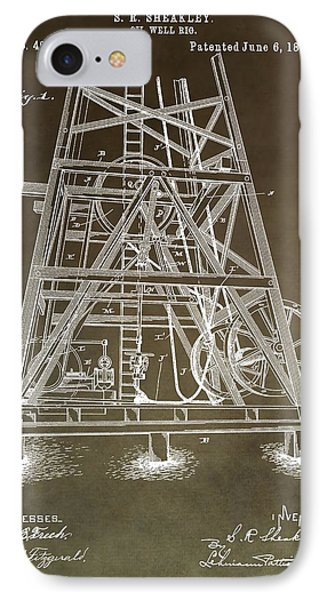 Vintage Oil Well Rig Patent IPhone Case