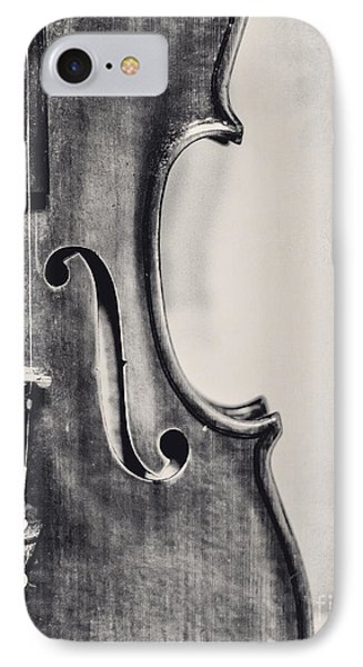 Violin iPhone 8 Case - Vintage Violin Portrait In Black And White by Emily Kay