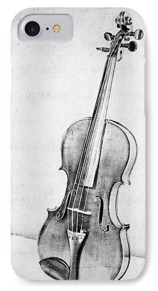Violin iPhone 8 Case - Violin In Black And White by Emily Kay