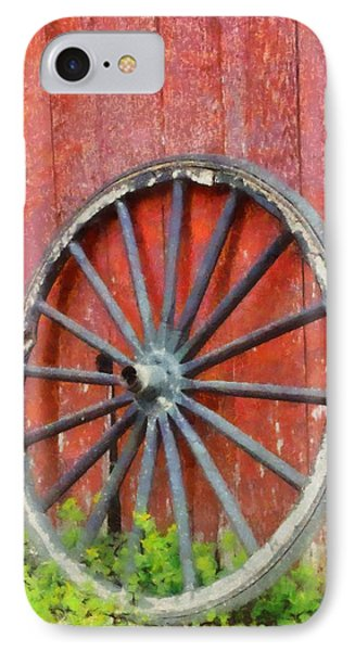 Wagon Wheel On Red Barn IPhone Case