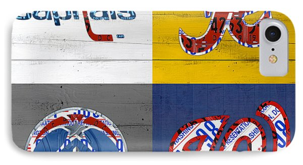 Washington Dc Sports Fan Recycled Vintage License Plate Art Capitals Redskins Wizards Nationals IPhone Case