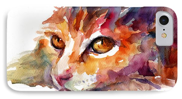 Watercolor Orange Tubby Cat IPhone Case