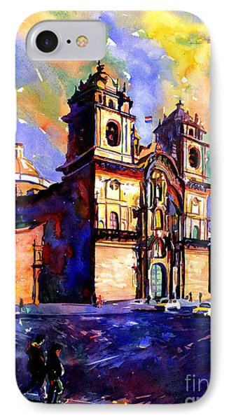 Watercolor Painting Of Church On The Plaza De Armas Cusco Peru IPhone Case