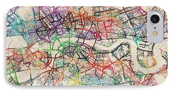 England iPhone 8 Case - Watercolour Map Of London by Michael Tompsett