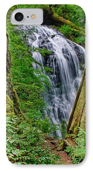 Waterfall And Green Vegetation Framed By Trees IPhone Case