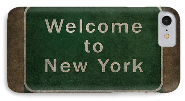 Welcome To New York Highway Road Side Sign IPhone Case