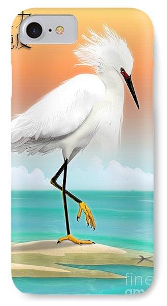 White Egret On Beach IPhone Case
