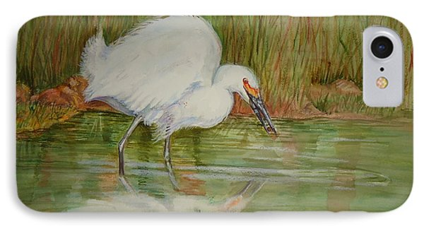 White Egret Wading  IPhone Case