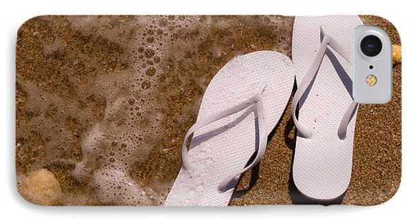 62519b78365f The Flop iPhone 8 Case - White Flip Flops On The Beach by Teri Virbickis
