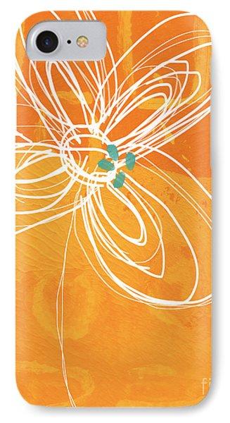 White Flower On Orange IPhone Case