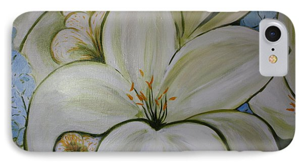 White Lilies And Delphinium IPhone Case