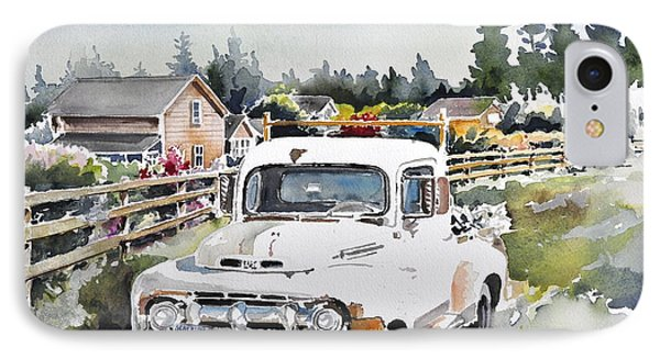 White Old Truck Parked Over The Fench IPhone Case