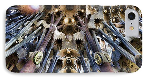 Wide Panorama Of The Interior Ceiling Of Sagrada Familia In Barcelona IPhone Case