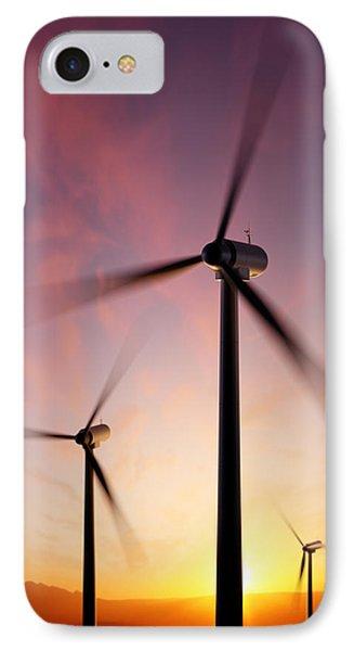 Wind Turbine Blades Spinning At Sunset IPhone Case