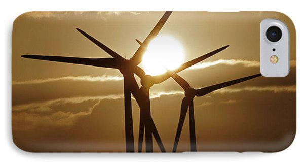 Wind Turbines Silhouette Against A Sunset IPhone Case