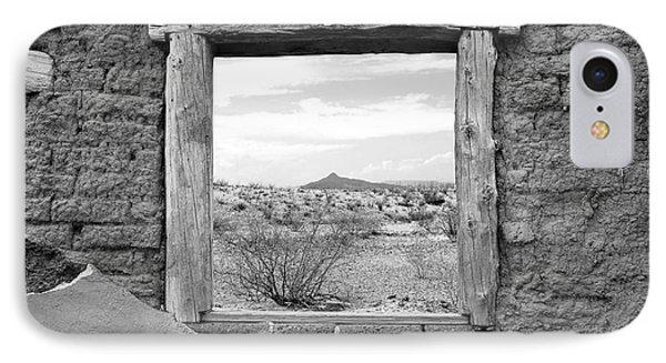 Window Onto Big Bend Desert Southwest Black And White IPhone Case