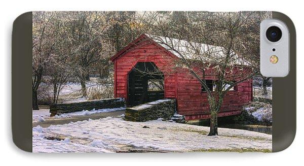 Winter Crossing In Elegance - Carroll Creek Covered Bridge - Baker Park Frederick Maryland IPhone Case