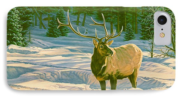Bull iPhone 8 Case - Winter Forage - Elk by Paul Krapf