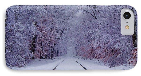 Train iPhone 8 Case - Winter Rails by Greg Kear