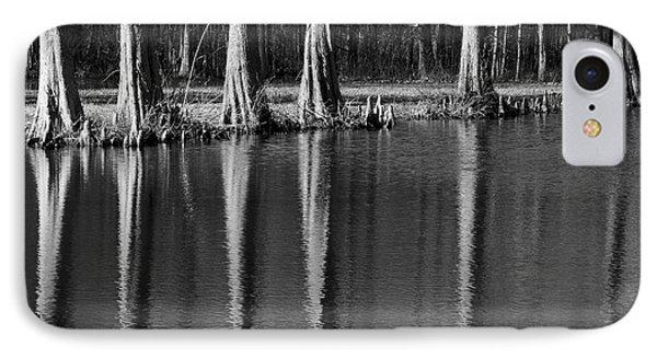 Winter Reflections - Cypress Tree Art Print IPhone Case