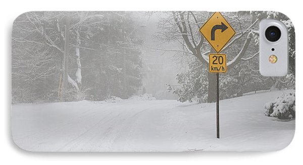 Winter Road With Yellow Sign IPhone Case