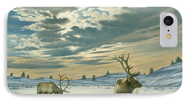 Bull iPhone 8 Case - Winter Sky-elk   by Paul Krapf