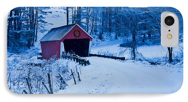 winter Vermont covered bridge IPhone Case
