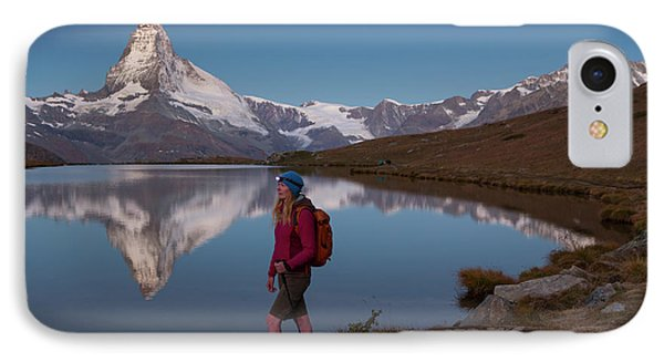 Knit Hat iPhone 8 Case - With The Matterhorn In The Background by Menno Boermans