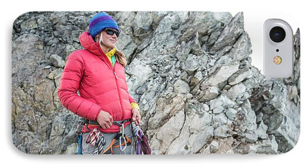 Knit Hat iPhone 8 Case - Woman On The North Ridge Of Forbidden by Alasdair Turner