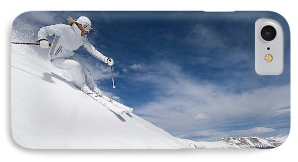 Knit Hat iPhone 8 Case - Woman Skiing At Loveland, Colorado by Scott Markewitz