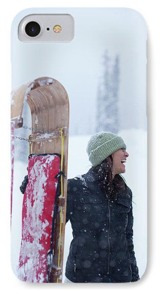 Knit Hat iPhone 8 Case - Woman Standing With Toboggan Sled by Woods Wheatcroft