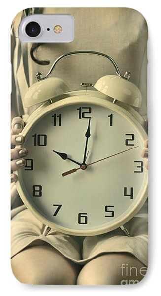 Woman With Clock IPhone Case