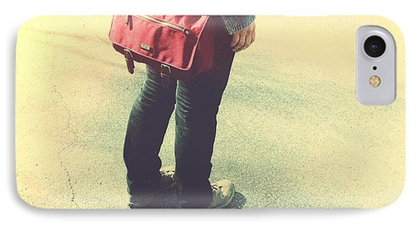 Woman With Red Bag On The Street IPhone Case