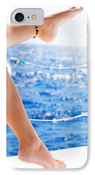 Women's Feet On The Yacht IPhone Case