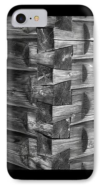 1875 Woodgrain Log Cabin Corner Study In  Black White IPhone Case