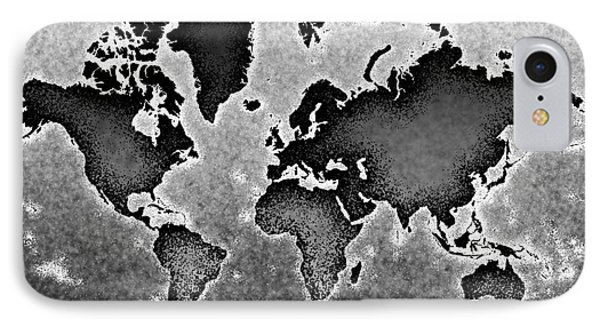 World Map Novo In Black And White IPhone Case