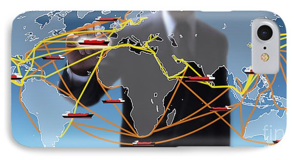World Shipping Routes Map IPhone Case