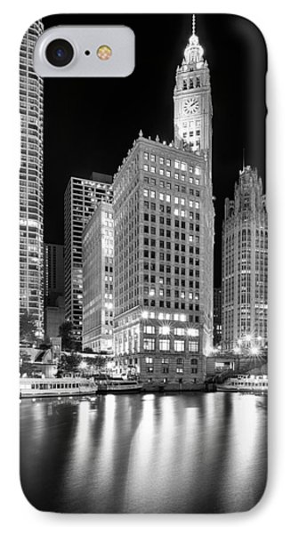 Wrigley Building Reflection In Black And White IPhone Case