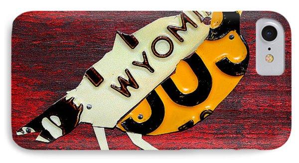 Wyoming Meadowlark Wild Bird Vintage Recycled License Plate Art IPhone Case