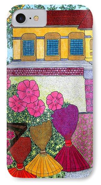 Yellow Casa Pink Flors IPhone Case