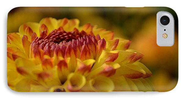 Yellow Dahlia Red Tips IPhone Case