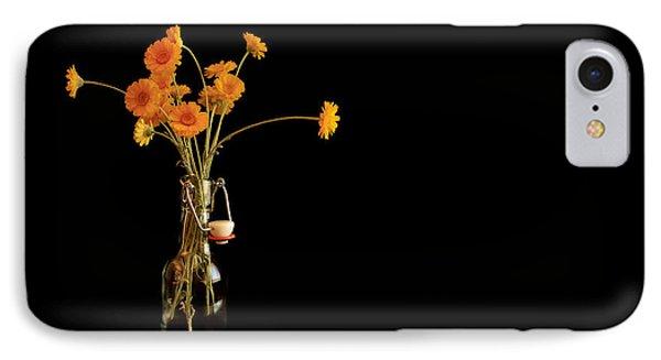 Orange Flowers On Black Background IPhone Case