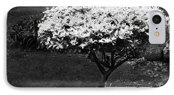 Yellow Leafed Shrub In Monochrome. IPhone Case
