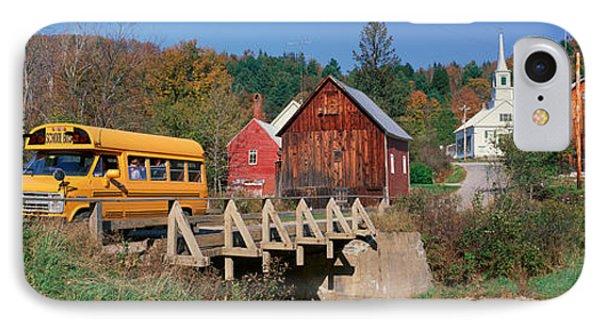 Yellow School Bus Crossing Wooden IPhone Case