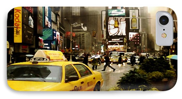 Yelow Cab At Time Square New York IPhone Case