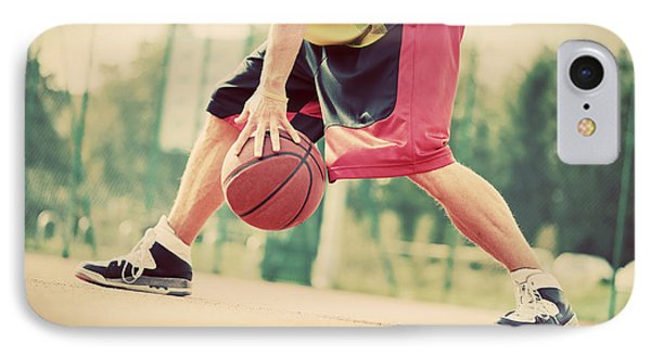 Young Man On Basketball Court Dribbling With Ball IPhone Case