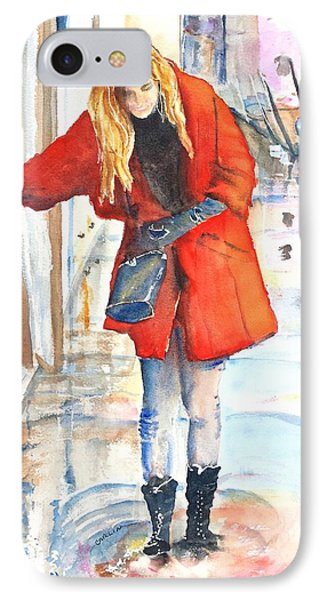 Young Woman Walking Along Venice Italy Canal IPhone Case