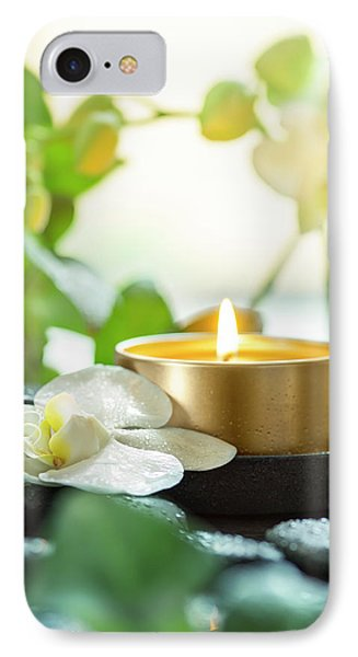 Orchid iPhone 8 Case - Zen Orchid And Candle by #name?