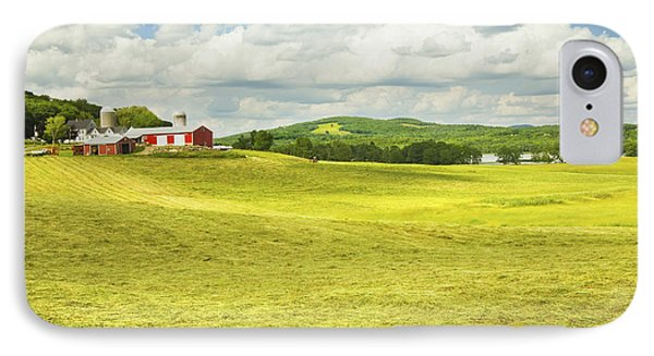 Hay Harvesting In Field Outside Red Barn Maine IPhone Case