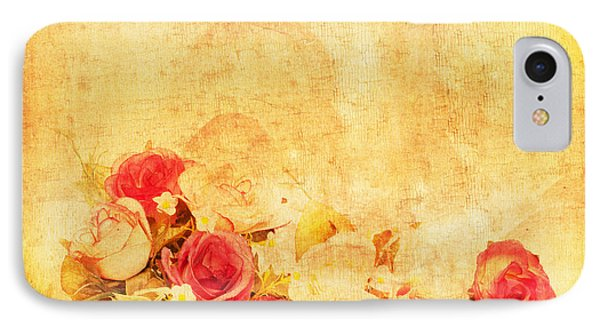 Rose iPhone 8 Case - Retro Flower Pattern by Setsiri Silapasuwanchai